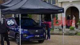 MG Hector Plus Starry Sky Blue snapped during ad shoot in the UK - Report