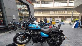 Royal Enfield Meteor 350 supernova blue dual-tone colour spotted