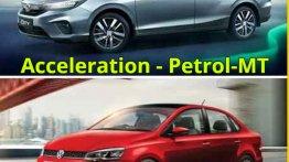 Honda City vs Volkswagen Vento - Petrol-Manual Acceleration Comparison