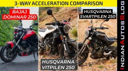 Bajaj Dominar 250 vs Husqvarna Svartpilen 250 and Vitpilen 250 - Acceleration Test