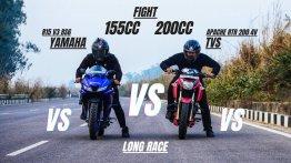 Can Yamaha R15 v3 Beat TVS Apache RTR 200 4V in Long Drag Race?