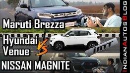 Maruti Vitara Brezza vs Hyundai Venue vs Nissan Magnite - Acceleration Comparo