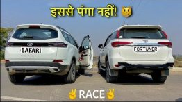 New-gen Tata Safari vs Pre-Facelift Toyota Fortuner In A Drag Race