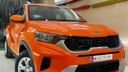 Kia Sonet Wrapped with Gorgeous Looking Gloss Orange Wrap