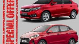 Compact-sedan Discounts - Upto INR 48,000 Off on Honda Amaze & INR 50,000 Off on Hyundai Aura