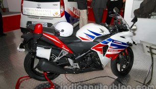 Honda CBR 250R Police Model displayed at Security Expo