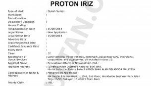 Malaysia - Proton trademarks 'Iriz' and 'Aero' names for the global small car