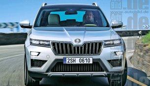 Skoda Kodiak front fascia rendered, debuts at Paris Motor Show - Report
