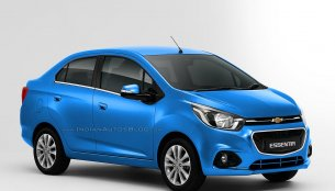 Chevrolet Essentia compact sedan rendered in all colors