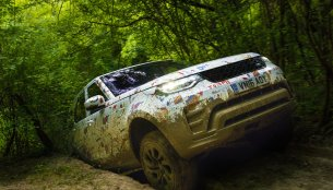 2017 Land Rover Discovery seen in camouflage drawn by kids