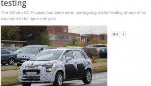2017 Citroen C3 Picasso flaunts its roofline & headlamp in new spyshots