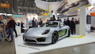 Porsche Cayman e-volution EV showcased at Electric Vehicle Symposium