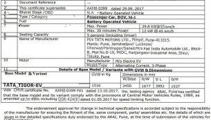 Tata Tigor EV specifications leaked via ARAI document