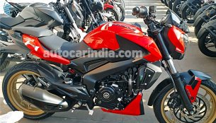 Bajaj Dominar 400 Red with Gold alloys spotted at a dealership