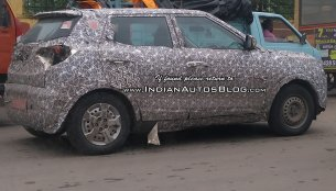 Base variant of the Mahindra S201 sub-4m SUV spied testing