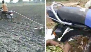 Farmers use a Hero Splendor to till soil & harvest groundnuts [Video]