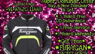 Bajaj dealer offering Furygan jacket worth INR 10,000 free with Dominar 400