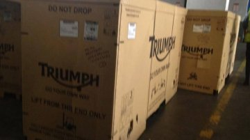 Spied - Boxed Triumph motorcycles spotted in India