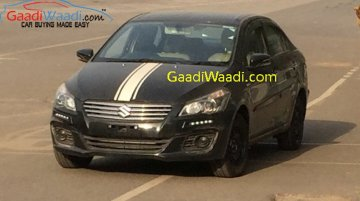 Maruti Ciaz spotted with LED DRLs and hood decal – Spied