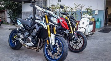 Yamaha M-Slaz snapped next to Yamaha MT-25 and Yamaha MT-09 - In Images