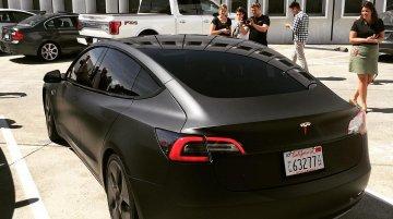Matte black Tesla Model 3 spied