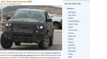Trail-ready 2017 Chevrolet Colorado ZR2 variant spotted in the USA