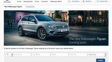VW Tiguan updated on VW India's website