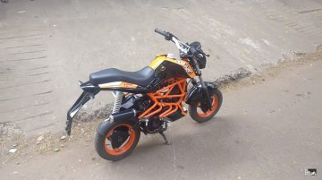 TVS Scooty Pep+ modified to look like a KTM Duke 125