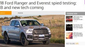 2018 Ford Ranger spied on test in Australia