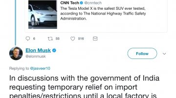 Tesla's Elon Musk in talks with Indian Government for temporary relief on import duty
