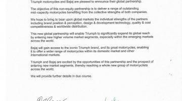 Bajaj Auto India and Triumph Motorcycles UK announce new partnership