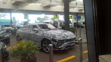 Lamborghini Urus spotted at a gas station ahead of its December debut