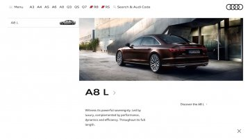 2018 Audi A8 L (LWB) listed on their Indian website