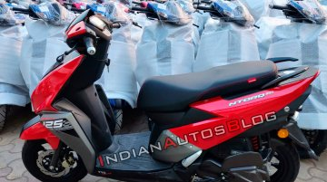 New TVS Ntorq 125 'Metallic Red' colour option snapped at a dealership