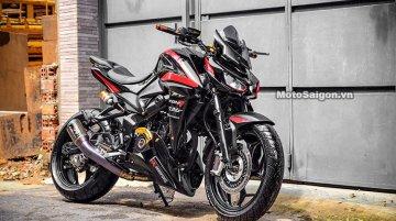 Bajaj Pulsar with 350 cc engine modified to look like the Kawasaki Z1000