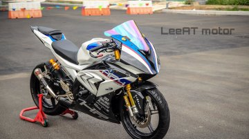 Yamaha YZF-R15 transformed into a BMW S1000RR HP4 Race