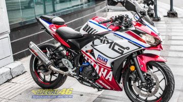 Yamaha YZF-R3 wears custom graphics and AMG decals