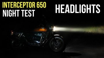 Royal Enfield Interceptor 650 headlamp illumination during 'night test' [Video]