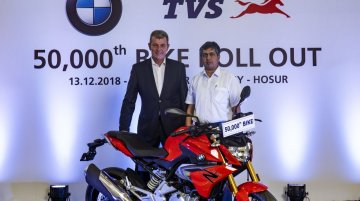 50,000th BMW 310cc series motorcycle rolled out from TVS Motor Company's plant