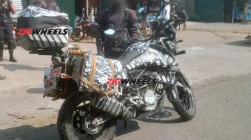 KTM 390 Adventure test mule spotted with panniers & top box