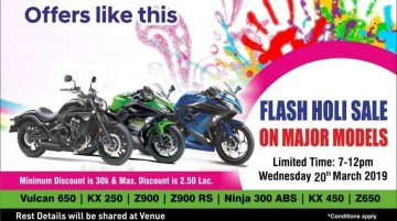 Kawasaki Mumbai announces flash sale for Holi; offers discounts of up to INR 2.5 lakh