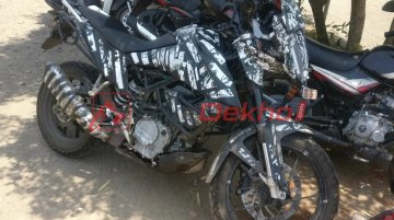 KTM 390 Adventure with luggage mounts spotted up close