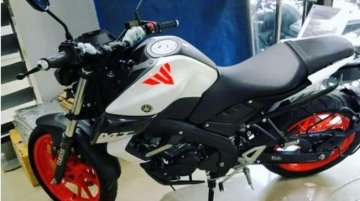 Dealer-modified Yamaha MT-15 gets white colour with orange wheels