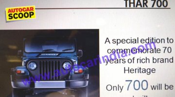 Mahindra Thar Signature Edition leaked ahead of launch - Report