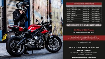 Jaipur dealership announces heavy discounts on Triumph Bonneville and Street models