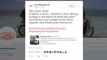 Yezdi India Twitter and Instagram profiles go online