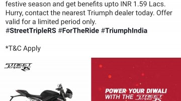 Festive offer brings benefits of up to INR 1.59 lakh on Triumph Street Triple RS