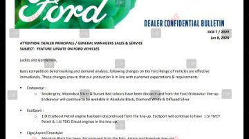 Ford discontinues select colours, 1.5L engine & AT from Figo, Aspire & Freestyle