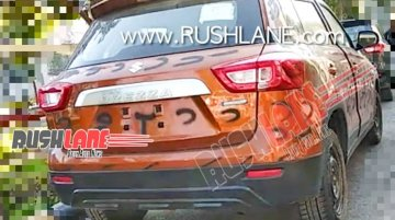 2020 Maruti Vitara Brezza (facelift) with smarthybrid badge spied naked