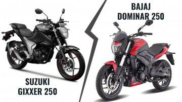 Bajaj Dominar 250 vs. BS6 Suzuki Gixxer 250 - Specs, features & prices compared